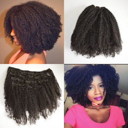 Wholesale Kinky Hair Extensions Products - Afro kinky curly Russian clip in hair extensions natural black 3c,4a,4b,4c clip human hair G-EASY Hair products