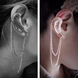 Wholesale Tassel Earring Cuff Feather - 2015 summer new European and American big fashion tassel feather earrings ear hook earrings