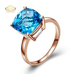 Wholesale Women Blue Topaz Wedding Ring - Wholesale 18K rose gold plated 925 Silver AAA checkerboard cut 10*10mm synthetic aquamarine Blue Topaz Rings for women