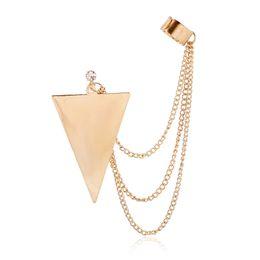Wholesale Long Earrings Leave Cuff - DIDNOT Triangle Tassel Long Chain Fashion Clip Earrings Left Right Silver Gold Earring Clip Jewelry Ear Cuff Earring FY031
