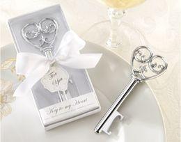 apri di bottiglia elegante all'ingrosso Sconti All'ingrosso- Chiave per il mio cuore Apribottiglie in bianco Confezione regalo 50 PCS / LOT Bomboniera-