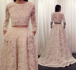 Wholesale Beaded Two Piece Wedding Dresses - Two Pieces Prom Dresses 2015 Crew Sweep Train Long Sleeve Lace Wedding Dress A Line Zipper Back Elegant Formal Evening Gowns