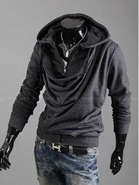 Wholesale Collar Designs Sweaters - 2015 fashion heap collar design tide men casual personality Slim Stayed hooded cardigan sweater coat.@897f
