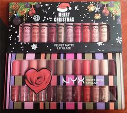 Wholesale velvet retail - Retail Newest NYX Velvet Matte Lip Glaze Cream Merry Christmas Set 12 colors Luxury Velvet Matte Lipsticks Makeup Lipgloss
