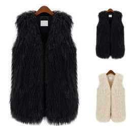 Wholesale Women Black Fur Vest - S5Q Sleeveless Slim Coat Women Faux Fur Shaggy Vest Outerwear Jacket Waistcoat AAAELM