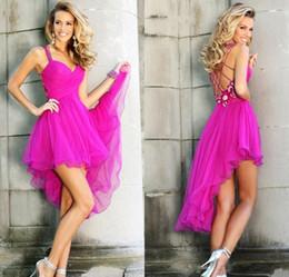 Wholesale Tarik Ediz Blue Dresses - Gorgeous Fushia High Low Party Dresses 2016 Tarik Ediz Short Ruffles Homecoming Dresses Criss Cross Straps Evening Gowns Formal Prom Wear