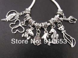 Wholesale Mix Dangle Beads - 2014 Promotion Direct Selling Metal Beads Crafts And Scrapbooking 100pcs Mix Beastie Dangle Beads Fit Charm Bracelet (3128)