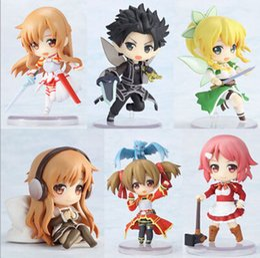 """Wholesale Sword Set Wholesale - High Quality Sword Art Online 6pcs set 2.5"""" 6CM Fairy Dance Kirito Asuna Lefa PVC Action Figures Models"""