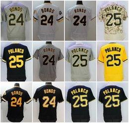 Wholesale Cheap Army Shorts - Cheap Men's Pittsburgh Throwback Jersey 24 Barry Bonds 25 Gregory Polanco Flex Base Cool Base White Black Grey Yellow Camo Baseball Jerseys