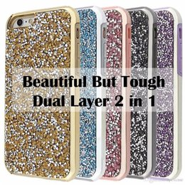 Wholesale Premium Diamonds - 2 in 1 Luxury Bling Diamond Commuter Case Premium Rhinestone Glitter Cases Cover For iPhone X 8 7 6 6S Plus Samsung S8 S9 Plus Note 8