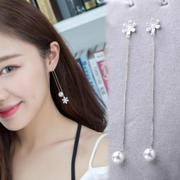 Wholesale Drilled Ear Cuffs - A piece of 925 silver full drill flower ear line, South Korea fashion sweet temperament, accomplishment Pearl Earrings manufacturers direct