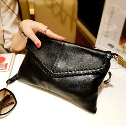 Wholesale Genuine Leather Envelope Bag - 100% Genuine Leather Clutches 2015 Women Messenger Bag The First layer Cowhide Envelope Bag Black Small Shoulder Cross body Bags