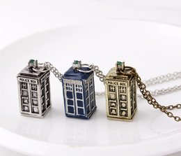 Wholesale Gold Police Pendant - Doctor Who Fashion necklaces Doctor Who 3D Police Box Pendant necklaces Christmas Decorations gold silver blue 3 color Xmas gift