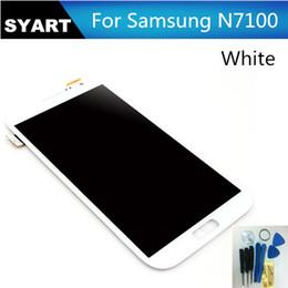Cellulare di tocco bianco di samsung online-Touch screen LCD del telefono cellulare LCD all'ingrosso Nota2 N7100 con l'assemblea del convertitore analogico / digitale per Samsung Galaxy Note 2 N7100