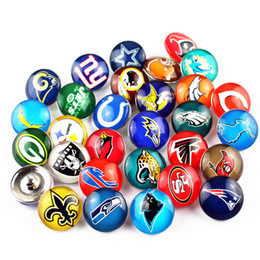 Wholesale Ring Charm Necklace - Mixed 32pcs 18mm American sports Football Team Snap Button For Snap Bracelet Necklace DIY Jewelry