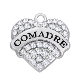 Wholesale Material Jewelry Making - Factory price FASHION Zinc Alloy Material Rhodium Plated Crystal Heart COMADRE Pendant Charm DIY Jewelry Making