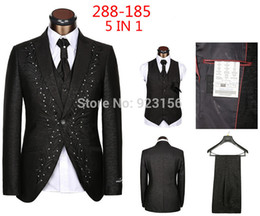 Wholesale Western Style Suits Jackets - Wholesale-2015 Fashion Design Business Suit Men's Vest Western-style clothes Men's Waistcoat BLAZERS Jackets vest Pants Free