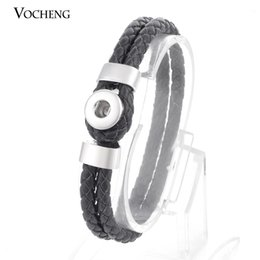 Wholesale Tennis Charms Silver Plated - VOCHENG Small NOOSA 12mm Ginger Snap Jewelry Charm Bracelet Trend Jewelry Interchangeable Genuine Leather (Vb-022)