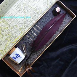 Wholesale Antique Pens - Wholesale-Beautifully decorated gift European retro antique quill pen , dip pen , sign , magenta feather