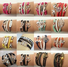 Wholesale love cross anchor infinity bracelet - Leather Bracelet Antique Cross Anchor Love Peach Heart Owl Bird Believe Pearl infinity bracelet, Multicolor woven leather bracelet & Bangle