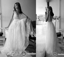 Wholesale Bohemian Wedding Dresses Lace Vintage Bridal Gowns Sexy V Neck Zip Back Open Floor Length Lace Long Wedding Gowns New Listing