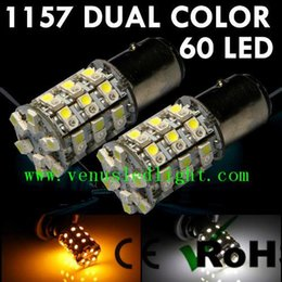 Wholesale 1157 Dual - auto led light super bright 60-SMD 1157 1156 Dual-Color Switchback LED Bulbs (60-White 60-Amber) + Load Resistor