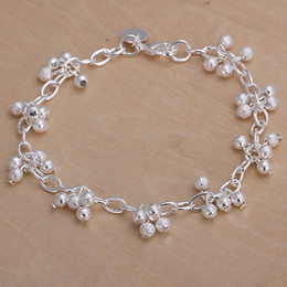 Wholesale Fish Beads - Hot sale best gift 925 silver Sand beads hanging grapes Bracelet DFMCH087, new fashion 925 sterling silver Chain link gemstone bracelets