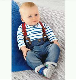 Wholesale Boys Braces Jeans - 3Pcs Baby Boys Autumn Clothes Sets Outfits Infants Striped Long Sleeve T-shirt+Jeans+Braces Kids Clothing Children Denim Suspender Jumpsuits