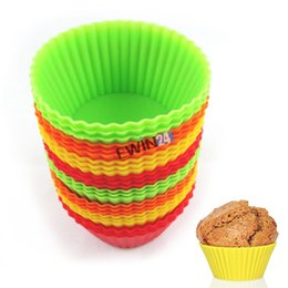 Wholesale Cupcakes Liners Wholesale - 2 Styles Silicone Cupcake Mold Cupcake Liner Holders Muffin Chocolate Cupcake Bakeware Baking Cup Mold 12PCS Set