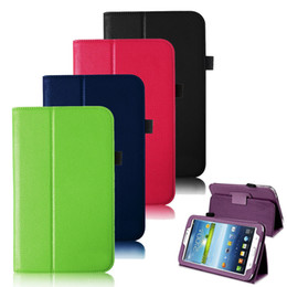 Wholesale Galaxy Tablet Waterproof Case - S5Q New PU Leather Folio Smart Case Cover For Samsung Galaxy Tab 3 7.0 7 inch Tablet AAACWK