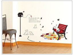 Wholesale Cat Under Street - Free Shipping CUTE CATS under the street light Cartoon Wall Stickers Baby Room Wall decals 7013