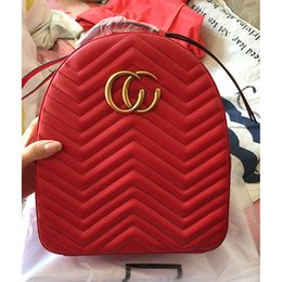 Wholesale Satchel Leather - Marmont backpack luxury designer women bags famous brands backpacks leisure school bag fashion leather quilted mochila high quality 2018