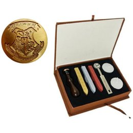 Wholesale Harry Box - free shipping Vintage Harry Potter Hogwarts Stamp Wax Seal Stamp Set Gift Box with 3PCS Wax Stick+1 stamp
