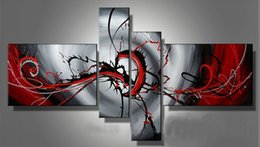 Wholesale Red Grey Oil Paintings - Hand Painted 4 Piece Canvas Oil Painting Modern Home Decoration Art Black Light Grey Red Abstract Oil Painting Set No frame