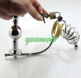 Wholesale sex catheter anal - Male Stainless Steel adjustable Anal plug Butt beads+cock cage+catheter Chastity belt Art Device SM Sex toys JJD10062007