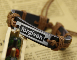 Wholesale Leather Word Bracelets - mens bracelet leather bracelet Fashion Alloy Word ''forgiven'' Mens Charm Genuine Leather Bracelet