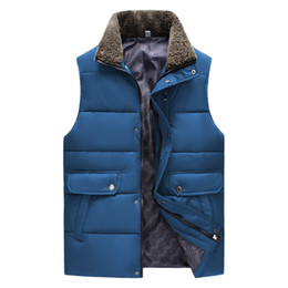 Wholesale Mens Body Warmer - Fall-Autumn and Winter Gilet Men Padded Vest Bodywarmer Puffer Vest Sports Mens Cotton Body Warmer W  Fur Collar Navy Blue Yellow 2XL