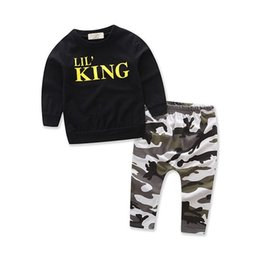 Wholesale 4t Camouflage Clothes - Kids Clothing Sets Autumn Winter Boys Long Sleeve T-shirts + Pants Outfits Suits Children Casual Black Tops Camouflage Clothes 1-6Years Old