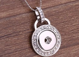 Wholesale Button Jewerly - metal Ginger Snap Button Pendants Necklace with Crystal Jewelry Interchangeable Jewerly
