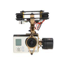 Wholesale Gimbal Brushless Camera Mount - Aluminum 2 Axis Brushless Gimbal Mount Golden Color for GoPro Hero 3 FPV Camera Tarot   DJI Phantom 1 2 FPV RC Quadcopter