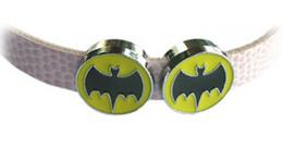 Wholesale Sign Accessories - (20 , 50)PCS lot 8MM Batman Sign Slide Charms DIY Alloy Accessories Fit For 8mm Leather Bracelet Keychains Phone Strips