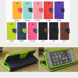 Canada Mercury Portefeuille PU Flip Étui en cuir Card Slot Pour iPhone 4 4s 5 5s Samsung S3 S4 S5 Note2 Note3 DHL gratuit Mix Style coloré Nouveau Offre