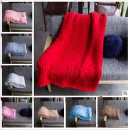 Wholesale Thick Warm Blankets - 100*150cm 150*200cm Warm Chunky Knit Blanket Thick Woven Yarn Wool Bulky Knitted Throw Knitted Throw Photograph Blanket 20 color b1371