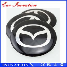 Wholesale 55mm Wheel Caps Sticker - 55mm Car Wheel Center Hub Cap Badge Sticker Car Wheel Center Hubcaps Steering Sticker For Mazda