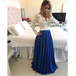 Wholesale Vintage Pearl Belt - Long Sleeve Vintage Lace Evening Dresses 2017 V Neck with Pearls Belt A Line Chiffon Navy Customize Size Color Prom Party Gowns BO7999