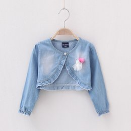 Wholesale Girls Lace Long Sleeve Top - Fashion Casual lace denim Jackets Girls Cute Tops Long sleeve shawl Denim Coats C001