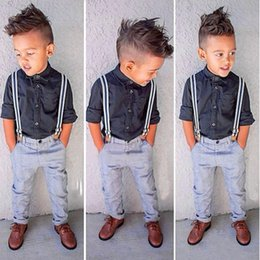 Wholesale Trouser Suspenders Kids - New Gentleman Baby Boy T-shirt+Suspender Trousers Overall Suits for Little Boys Summer Clothing Sets Children Kids Clothes