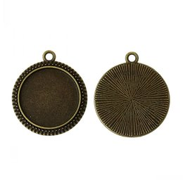 """Wholesale Pendant Nickel - Jewelry Findings Charm Pendants Round Antique Bronze Cabochon Setting(Fit 20mm Dia)Nickel Free 29mm x 25mm(1 1 8"""" x1""""),50PCs"""