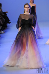Wholesale Elie Saab Blue Chiffon Dress - Graceful Elie Saab Ombre Pleats Evening Dresses A-Line Sheer Crew Neck Half Sleeves Evening Gowns Prom Dress