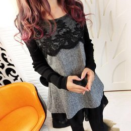 Wholesale Bottom Pregnant - 2016 Spring Plus Size Long Sleeved Lace Maternity Dresses Clothing T-shirt Loose Bottoming Shirt Tops For Pregnant Women Clothes